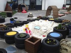 """Love this!... Create a tyre sandpit - from I'm a teacher, get me OUTSIDE here! ("""",)"""