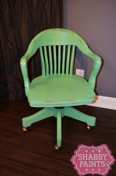Chalk painted office chair. Emily Ann Chalk Paint