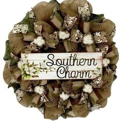 Excited to share this item from my shop: Southern Charm Cotton Blossom Burlap Deco Mesh Handmade Wreath Diy Wreath, Burlap Wreath, Wreath Ideas, Cotton Blossom, Country Wreaths, Cotton Wreath, Magnolia Wreath, Southern Charm, Southern Homes