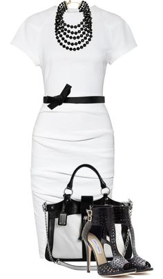 20 Fabulous Outfit Looks for Work – Pretty Designs Classic Black and White Outfit for Work Black And White Outfit, White Outfits, Classy Outfits, Black White, White Dress, Fashion Mode, Work Fashion, Fashion Outfits, Womens Fashion