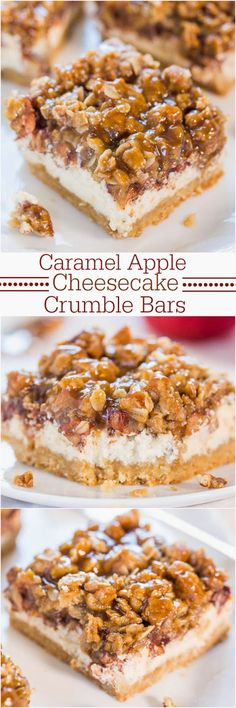Caramel Apple Cheesecake Crumble Bars #delicious #recipe #cake #desserts #dessertrecipes #yummy #delicious #food #sweet