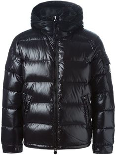 The One - Original Moncler Maya Black Padded Jacket Raf Simons Sneakers, Black Padded Jacket, Moncler Jacket Women, Leather Men, Leather Jacket, Revival Clothing, The Right Man, Black Feathers, Funnel Neck