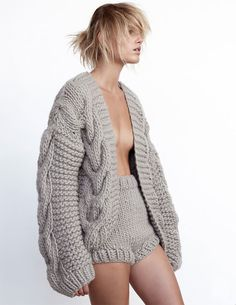 Contemporary Knitwear - knitted shirts & cardigan with cable sleeve detail… Knitwear Fashion, Knit Fashion, Fashion Fashion, I Love Mr Mittens, Big Knits, Chunky Knits, Mode Editorials, Fashion Editorials, Editorial Fashion