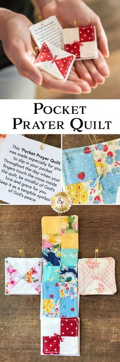 Learn how to make this pocket prayer quilt, and adorable mini quilt with a printed prayer, and cross inside the … Small Quilts, Mini Quilts, Baby Quilts, Scrap Quilt Patterns, Sewing Patterns, Loom Patterns, Card Making Ideas For Beginners, Fabric Crafts, Sewing Crafts