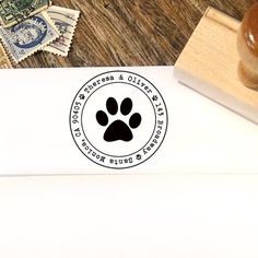 Custom Address Stamp with a Paw Print for Dog and Cat Lovers by Designkandy, $26.00