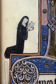 Title text: Psalter (unfinished). Country or nationality of origin: English Place of origin: Oxford Date: c. 1260 Folio or page no.: fol. 148r Whole page or detail: detail Image description: Detail. A nun praying, detail from an illustration of the Trinity.