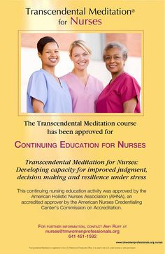 Contact us to learn how you can receive contact hours when you learn the Transcendental Meditation program. Continuing Education For Nurses, Holistic Nursing, Healthy Living Tips, Educational Activities, Decision Making, Stress, Learning, American
