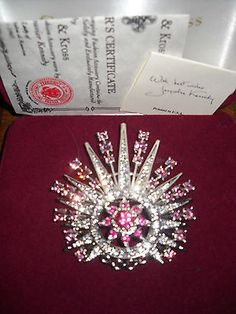 JACQUELINE KENNEDY REPRODUCTION PANTHER PIN PINK DARK PINK WHITE CRYSTAL QVC