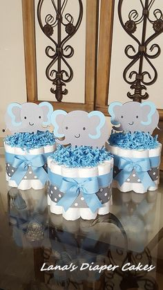 Set Of 3 Blue And Gray Elaphant Mini Diaper Cake Baby Shower.- Set Of 3 Blue And Gray Elaphant Mini Diaper Cake Baby Shower Centerpiece Set Of 3 Blue And Gray Elaphant Mini Diaper Cake Baby Shower Centerpiece - Idee Baby Shower, Baby Shower Diapers, Baby Shower Cakes, Baby Boy Shower, Baby Shower Gifts, Baby Gifts, Baby Shower Desserts, Baby Shower Decorations For Boys, Boy Baby Shower Themes