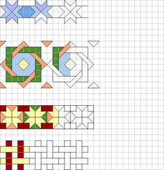 cornicette a quadretti Blackwork Patterns, Zentangle Patterns, Cross Stitch Patterns, Quilt Patterns, Graph Paper Drawings, Graph Paper Art, Bargello Quilts, Quilt Border, Math Art