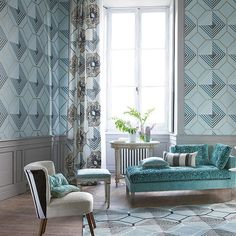 Designers Guild - Darly collection - Padgett Wallpaper - P524/01 Noir