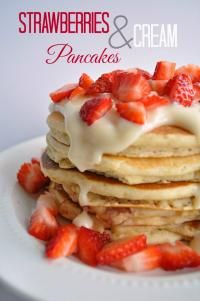 Strawberries and Cream Pancakes on MyRecipeMagic.com. A delicious cream cheese topping with fresh strawberris!