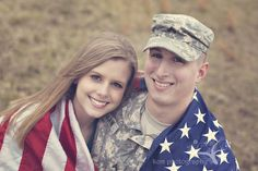 American flag, field, army, military, engagement photography