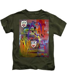 Abstract Kids T-Shirt featuring the painting The Kite Flyers by Mario Perron #Artist @ 1-mario-perron.pixels.com  #clothing #art #style
