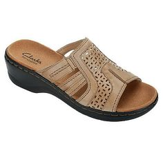 Clarks Leather Sandals with Adj. Summer Legs, Comfortable Sandals, Seychelles, Fashion Wear, Qvc, Clarks, Leather Sandals, Footwear, Angel