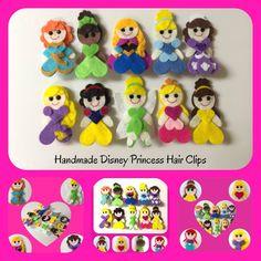 Handmade Disney Princess Felt Hair Clips on Etsy, $8.00