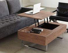 Coffee Table Ideas for Your Living Room - jihanshanum Condo Living Room, Living Room Sectional, Living Room Furniture, Home Furniture, Modern Furniture, Living Rooms, Walnut Coffee Table, Coffe Table, Table Storage