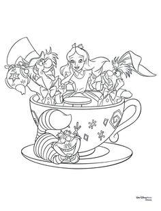Disney Princess Coloring Pages, Disney Princess Colors, Disney Colors, Adult Coloring Book Pages, Cute Coloring Pages, Coloring Books, Alice In Wonderland Crafts, Alice In Wonderland Drawings, Alfabeto Disney