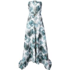 Nicole Miller foliage print strapless gown ($1,105) ❤ liked on Polyvore featuring dresses, gowns, white, colorful dresses, strapless gown, nicole miller evening dresses, white evening gowns and white strapless gown