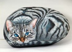 cat painted rock | sassidipinti | etsy