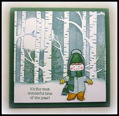 by Sandi: Wonderland, Christmas Cuties, Woodland embossing folder with instructions for the background - all supplies from Stampin' Up!