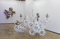 Gregor Kregar / Fragmented-Habitat-2-2012-wooden-modules-glazed-PVD-porcelain-sculptures.