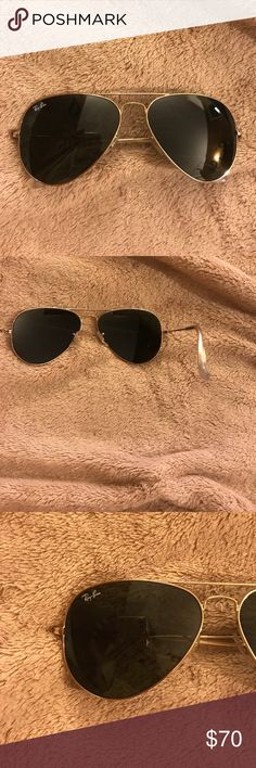 c0fc5f9d71b Shop Women s Ray-Ban Gold Green size OS Glasses at a discounted price at  Poshmark. Description  RB 3025 aviator large metal Sold by jessoo.