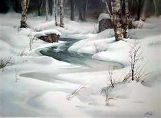 Zoltan Szabo Cool pic for a hot day! Winter Watercolor, Watercolor Class, Landscape Paintings, Snow Scenes, Winter Landscape, Winter Scenes, Pastel Painting, Seascape, Watercolor Landscape