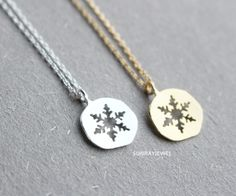 Snowflake Necklace, Snow Necklace, Coin Necklace, Minimal, Gift, Simple #Charm