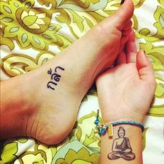 Buddha tattoo, wrist and foot tattoo