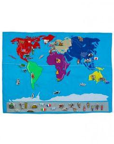 Weltkarte zum Spielen in blau/bunt