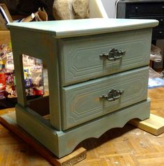 Litterbox cover made from a vintage night stand