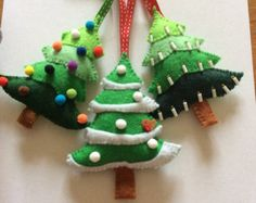 Christmas tree ornament handmade felt by AllhandmadeBylizzie