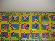 First Grade School Box: Addition Art~Ladybug Style. Could also do the same kind of thing for the fall with apples/apple seeds, pumpkins/pumpkin seeds, trees/leaves, etc. Math Classroom, Kindergarten Math, Teaching Math, Classroom Ideas, Classroom Displays, Teaching Ideas, Math Addition, Addition And Subtraction, 1st Grade Math