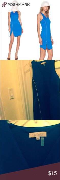 New 1 State Bodycon Dress with Zipper Detail Asymmetrical dress, new without tags. Never worn! Gorgeous and slimming with zipper detail. 1. State Dresses Mini