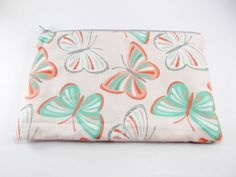 Butterfly Zipper Bag Coral Pink and Mint Green Bag Beautiful Bag Cosmetic Bag Makeup Bag Pink and Green Zipper Pouch Travel Bag (10.00 USD) by BeBeautifulDesigns