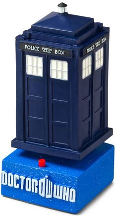 Doctor Who: TARDIS Bobble Simply press the red button. As your TARDIS bobbles and makes the sounds of materializing and de-materializing, you'll be magically transported to a happier state of mind. Ceramic, ages 14 and up. Includes battery.