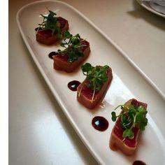 Ideal Tuna tataki with a Asian pear wasabi pote and tatsoi starrrestaurant podrestaurant phillyeats