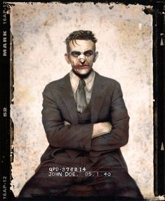 Batman villains re imagined as gangsters. John Doe, AKA The Joker Gangsters, Joker And Harley, Harley Quinn, Joker Batman, Joker Art, Batman Arkham, Batman Art, Comic Books Art, Comic Art