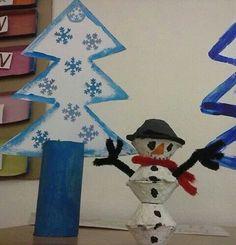 Stromeček a sněhulák Winter Art Projects, Art Lessons, School, Home Decor, Winter, Bricolage, Kid, Decoration Home, Schools
