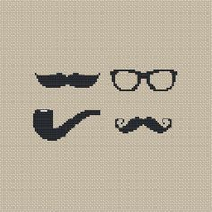 Buy 4 get 1 free ,Buy 6 get 2 free,Cross stitch pattern, Cross-StitchPDF, pattern design ,Happy father's day ,glasses,beards,pipe,zxxc0223. $4.50, via Etsy.