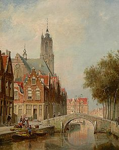 Cornelis Christiaan Dommelshuizen (Utrecht 1842-1928 Den Haag) View on the Langegracht in Amersfoort