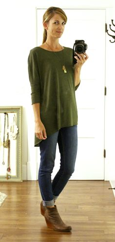 olive tunic, jeans & boots