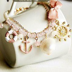 Nautical Jewelry with Pearls | 2013-new-fashion-Corsair-Marine-Naval-Air-rudder-anchor-wind-pearl ...