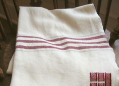 Swans Island White with Red Stripes Throw