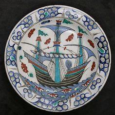 Dish with Sailing-ship Design Object Name: Dish Date: ca. 1600 Geography: Turkey, Iznik Culture: Islamic