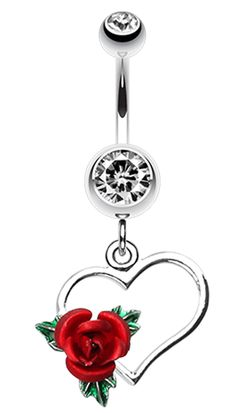 Heart Rose Belly Button Ring - 14 GA (1.6mm) - Black - Sold Individually