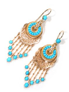 Antique Turquoise Gold Victorian Fringe Earrings. French, circa 1870 – 1880