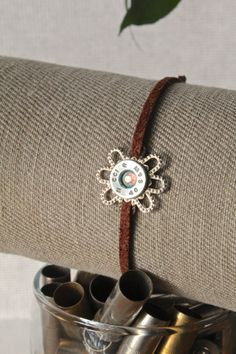 Adjustable suede leather bullet bracelet, with glass crystal, 40 cal S&W