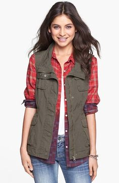 Ambition Utility Vest available at #Nordstrom - this vest and plaid flannel top paired with skinny jeans and Hunter boots